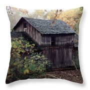 Old Grist Mill Throw Pillow by Thomas Woolworth