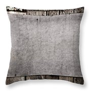 Old Grunge Plywood Board On A Wooden Wall Throw Pillow