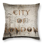 Old Grunge Stone Board With City Of London Text Throw Pillow