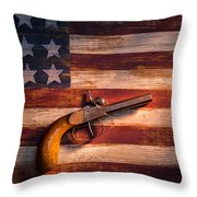 Old Gun On Folk Art Flag Throw Pillow