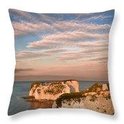 Old Harry Rocks Jurassic Coast Unesco Dorset England At Sunset Throw Pillow by Matthew Gibson