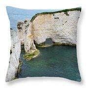 Old Harry Rocks On The Jurassic Coast In Dorset Throw Pillow