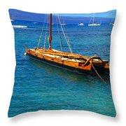 Old Hawaiian Sailboat Throw Pillow