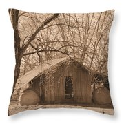 Old Hay Barn Throw Pillow