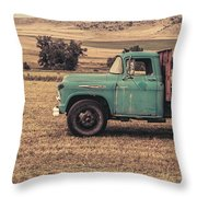 Old Hay Truck In The Field Throw Pillow