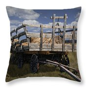 Old Hay Wagon In The Prairie Grass Throw Pillow