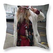 Old Hippie In Woodstock Ny  Throw Pillow
