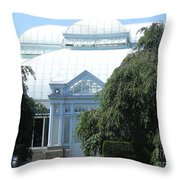 Old Historical Building At Botanical Gardens Of New York Throw Pillow