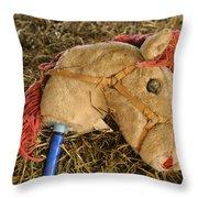 Old Hobby Horse Head Throw Pillow