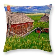 Old Homestead Near Townsend Montana Throw Pillow