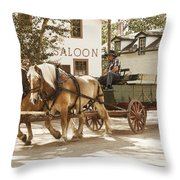 Old Horse Drawn Wagon At Fort Edmonton Park Throw Pillow