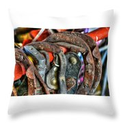 Old Horse Shoes Throw Pillow