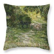 Old Horses Throw Pillow