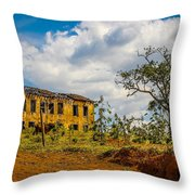 Old House And Cows Throw Pillow