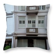 Old House And Funky Orange Car Throw Pillow