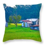 Old House And Harvest Time Throw Pillow