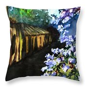 Old House And New Flowers Throw Pillow