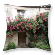Old House Covered With Roses Throw Pillow