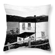 Old House In Black And White Throw Pillow