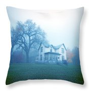 Old House In Fog Throw Pillow