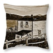 Old House In Sepia Throw Pillow