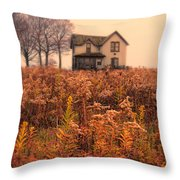 Old House In Weeds Throw Pillow