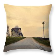 Old House On Country Road Throw Pillow