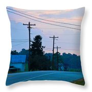 Old Houses And Sunset Throw Pillow