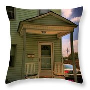 Old Houses - New Jersey - In The Oranges - Green House With Flower Pots And Rocking Chairs - Color Throw Pillow