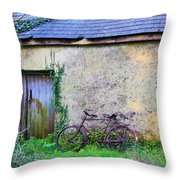 Old Irish Cottage With Bike By The Door Throw Pillow