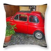 Old Italian Car Fiat 500  Throw Pillow