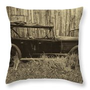 Old Jalopy Behind The Barn Throw Pillow