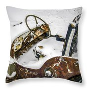 Old Jeep - New Snow Throw Pillow
