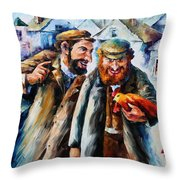 Old Jews And A Rooster  Throw Pillow