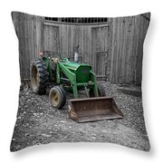 Old John Deere Tractor Throw Pillow by Edward Fielding