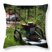 Vintage Lawn Mower Throw Pillow