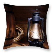 Old Kerosene Lantern Throw Pillow by Olivier Le Queinec