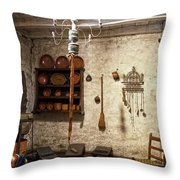 Old Kitchen In Carmel Mission Throw Pillow