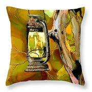 Old Lantern In Camo Throw Pillow