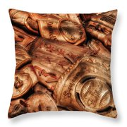 Old Leather Throw Pillow by Bill Wakeley