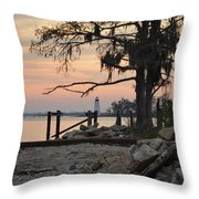 Old Lighthouse In Sunset Throw Pillow