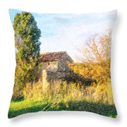 Old Little Stones House In Provence Throw Pillow