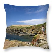 Old Lizard Head And Polpeor Cove Throw Pillow