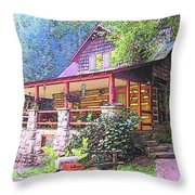 Old Log Cabin Home Throw Pillow