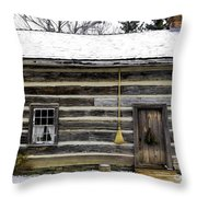 Old Log Home With A Broom Throw Pillow