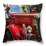 Old Mack Firetruck Throw Pillow