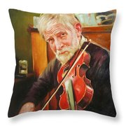 Old Man And Fiddle Throw Pillow