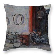 Old Man And His Bike Throw Pillow by Xueling Zou
