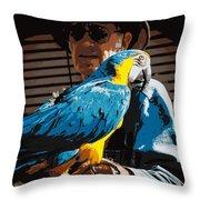 Old Man And His Bird Throw Pillow