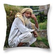 Old Man Carrying Fodder Swat Valley Kpk Pakistan Throw Pillow